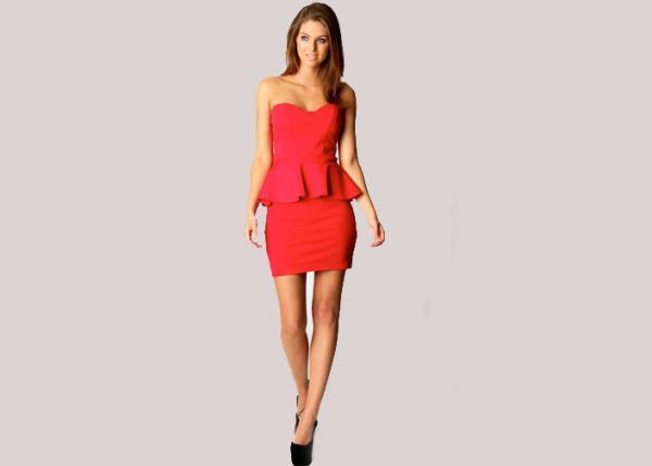 Quality Red Sweetheart Peplum Cocktail Dress Girls Mini Skirt for Summer , Spring , Autumn for sale