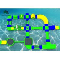China Custom 35x21m Inflatable Water Parks For Rental Green / Yellow / Blue Color on sale