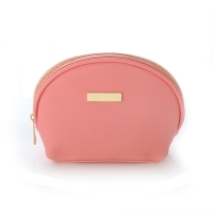 China Pink Custom Pu Leather Toiletry Bag with Digital Printing Logo wholesale