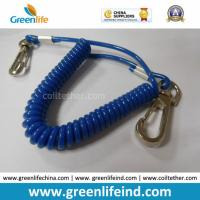China Solid Blue Plastic Elastic Spring Belt Coil Bungee Lanyard wholesale
