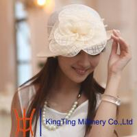 China western round top Womens Straw Hat , packable fedora straw hat With big flowers wholesale