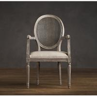 Fully upholstered Linen Fabric Dining Chair with Round Cane Back Arm for hotel