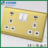 China 2 Gang British Standard USB Charging Power Socket with Golden Brushed Stainless Steel Wall Plate on sale