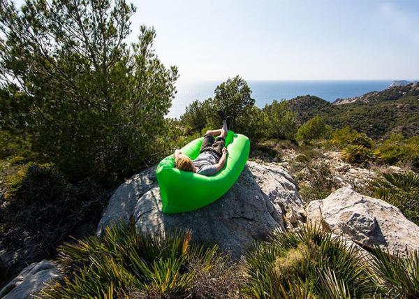Portable camping inflatable lazy bag laybag sleeping bag with nylon or