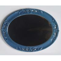 China Hand Carved Resin Wall Mirror For House Shabby Chic Dark Blue Ornate wholesale
