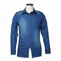China Men's Denim Shirt, Made of 100% Cotton Material, 500 Pieces MOQ on sale