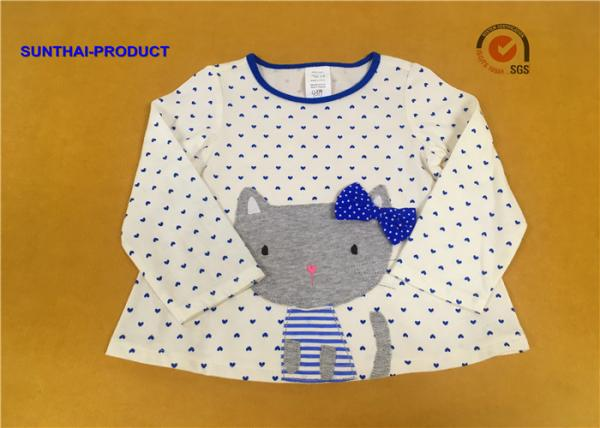 Quality 100% Cotton Baby Long Sleeve Tops , Kids Plain T Shirts For Fall / Winter for sale