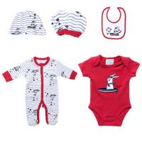 China Red Rabbit Color Infant Baby Boy Clothing Sets Stylish Romper Sets Quick Dry wholesale