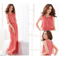 China Fashionable Style Scoop Neck Sleeveless Solid Color Bohemian Chiffon Maxi Dress for women wholesale