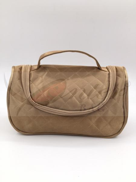 Quality Golden Satin Women'S Cosmetic Travel Bag Lattice Quilted Stain Material for sale