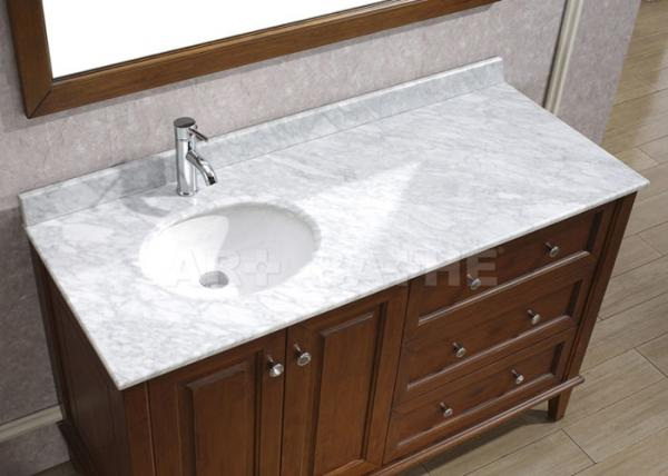Quality Galaxy White Bathroom Vanity Countertops With Sink  Marble Left Side Sink Vanity Top for sale