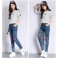 China Customized Embroidered Flowers Printed Denim Jeans American European Style wholesale