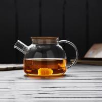 China High borosilicate glass thermal insulated tea pot with bamboo lid wholesale