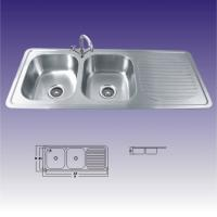 China American Standard Stainless Steel Kitchen Sinks Undermount , Double Bowl 380X320 wholesale