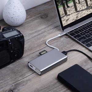 China 8 Ports USB C Thunderbolt Hub / Office Home Mac Thunderbolt To USB C Silver Grey wholesale