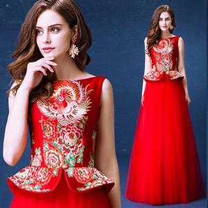 China Chinese Traditional Bride Toast Set Dress Invisible Zipper Back Evening Dress TSJY140 wholesale