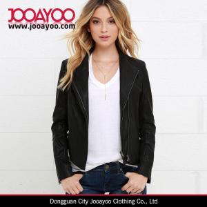 China Latest Women Winter Coat Design Chic Black Vegan Leather Jacket on sale