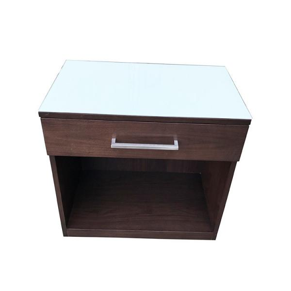 Quality White Back Painted Hotel Bedside Tables Tempered Glass Top One Drawer for sale