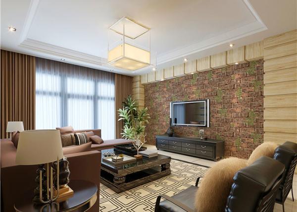 Quality papel de parede da decoração da sala de plantas verdes do tijolo 3D para o fundo da tevê for sale