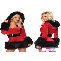 Buy cheap Sexy Santa Outfit Mrs Claus Costume Plush Hoodie Mrs Santa Claus Dress Set Adult Christmas Fancy Dress from wholesalers