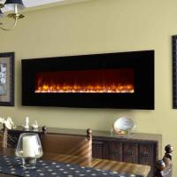 "China led flame electric  fireplace  95"" wall mounted  modern  flat black glass remote control stone fuel effect 13662608511 wholesale"