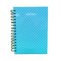 China Blue PVC Hard Cover Custom Printed Spiral Notebooks Metal Double Spiral Binding on sale