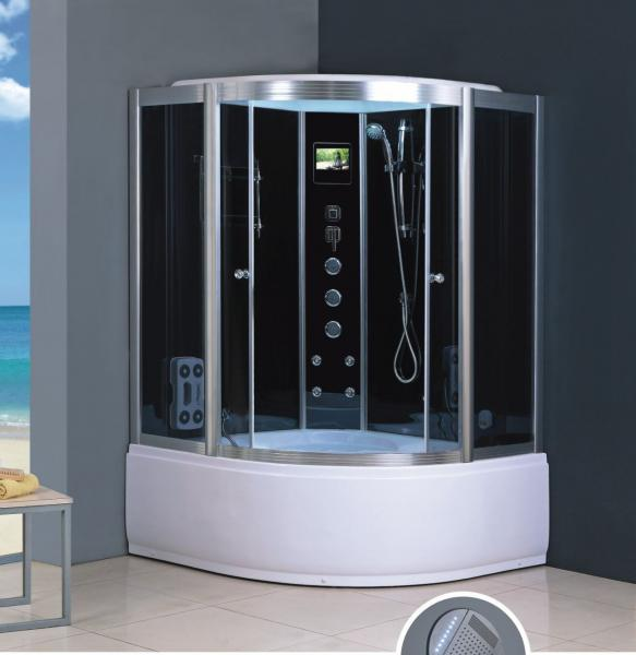 Quality 1000*1000*2150mm Acrylic Tray Two persons Polished Tempered Glass shower and steam room for sale