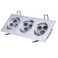 China Energy-saving Aluminum Silver Indoor Ceiling Square Recessed LED Downlight Lamp 12w AC110V on sale
