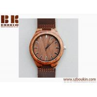 China Mens Wooden Watches Brown Cowhide Leather Strap Casual Watch for Groomsmen Gift with Box wholesale