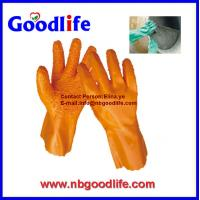 China Red color/ 100% cotton inerlock lined/ oil and chemical resistant PVC Glove wholesale