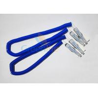 China Plastic Stretchy Dental Scarfpin Coiled Cord Blue Color 30CM Long Custom Logo Printing wholesale