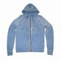 China Men's Hoodies Jacket with Long Sleeves, Made of 100% Cotton Fleece Fabric Material, Screen Printing on sale