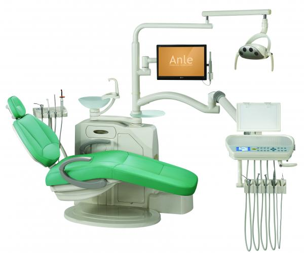 Quality Environmental Leather Dental Chair Unit With Low Mounted LCD Function Display for sale