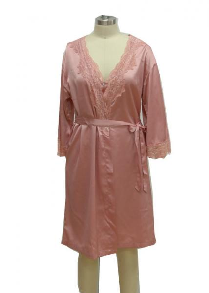 Quality Pink Home Ladies Night Dresses Sleepwear Solid Satin Night Robe With Lace for sale