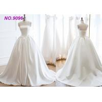 China Luxury Girls White Strapless Ball Gown / Beautiful Simple Satin Wedding Dresses on sale