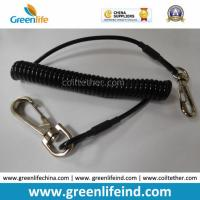 China Solid Black Strong Plastic PU Elastic Coil Tool Lanyard Tether wholesale