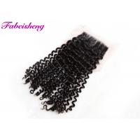 China Brazilian Curly 4x4 Lace Closure , Lace Frontal Closure With Bleached Knots wholesale