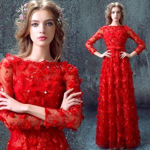 China Red Long Sleeves A Line Elegant Evening Dresses TSJY036 wholesale