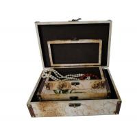 China PU Leather Covered Decorative Trunk Box Wooden Storage Boxes / Bins For Gift , Embossing / Hot Stamping wholesale