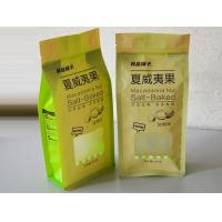 China Dried Fruit Zippered Kraft Paper Quad Seal Bags With Clear Window wholesale