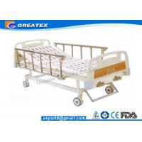 China ABS Handrail Steel Bedboard double Cranks Manual Medical Hospital Bed White and Brown wholesale