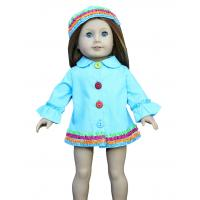 China Blue Single Breasted Multicolor Dress Long Sleeves Multicolor Cap Clothes for American Girl Dolls wholesale