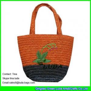 China LUDA fashion wheat straw handbag hand embroidery straw bags for kids wholesale