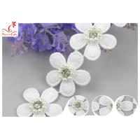 China 3D Floral Embroidered Trim With Bead Diamond For Dress Decoration 3.5 CM Width wholesale