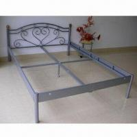 China Portable Metal Bed Frames with Head, Foot and Side Frame in KD, Measuring 2,085 x 1,455 x 800mm wholesale