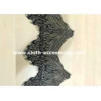 China Polyester Black Scalloped Lace Trimmed / Custom Mesh Lace Ribbon Trim Colorfast on sale