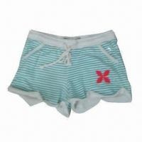 China Girl's knitted printed shorts with applique embroidery at hem wholesale