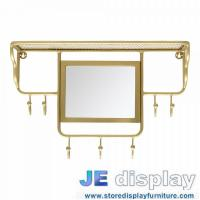 China Stainless steel wall mounted racks with mirror in brass coating Special design by hand made high end metal fixture wholesale