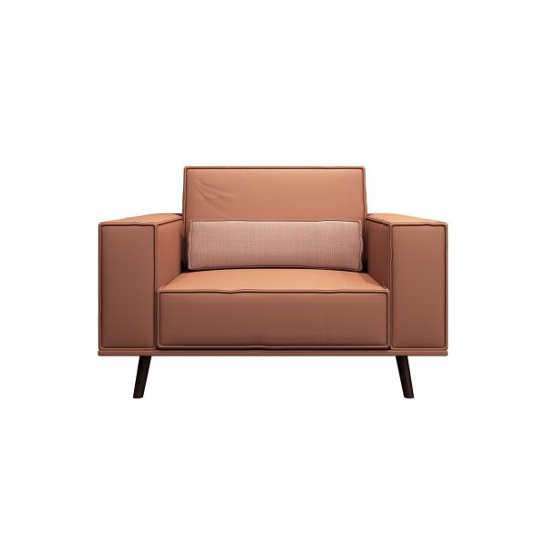 Quality Fashion modern lobby furniture single sofa in Leather upholstered with Walnut wood legs for 4 star hotel for sale