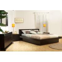 China Genuine Leather Double Slatted Queen Size Black Bed Frame Furniture High Headboard wholesale